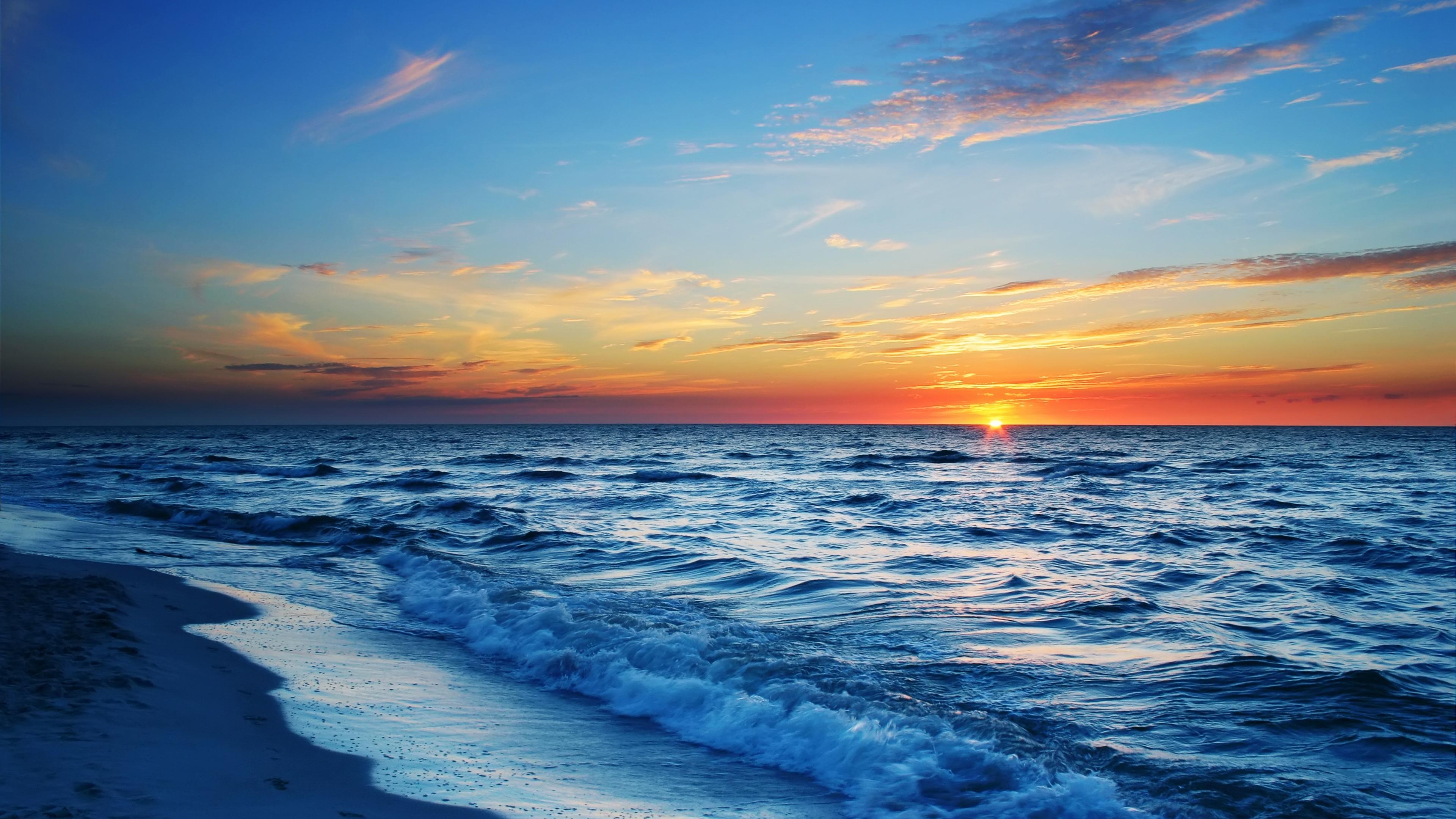 Wallpaper 38402160 Sea Beach Evening Sun Sunset 4k Ultra Hd Hd